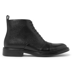 O'Keeffe Milo Cap-Toe Pebble-Grain Leather Boots