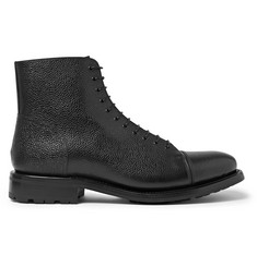 O'Keeffe Algy Peaky Shearling-Lined Pebble-Grain Leather Boots