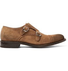 O'Keeffe Bristol Washed-Suede Monk-Strap Brogues