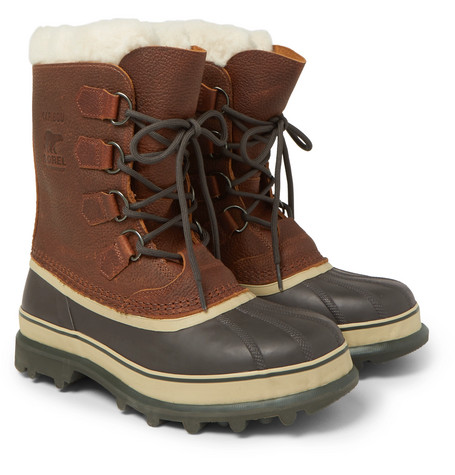 Caribou Shearling-lined Waterproof Leather Snow Boots - Brown