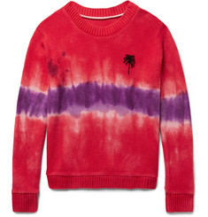 The Elder Statesman Tie-Dyed Palm Tree-Intarsia Cashmere Sweater