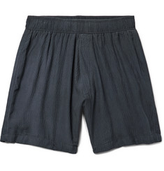The Elder Statesman Hammered-Silk Drawstring Shorts