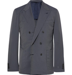 Camoshita - Blue Slim-Fit Double-Breasted Pinstriped Wool-Blend Suit Jacket