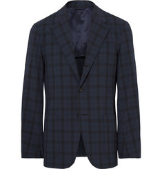 Camoshita Blue Slim-Fit Checked Wool-Blend Seersucker Blazer