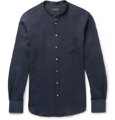 Thom Sweeney - Slim-Fit Grandad-Collar Linen Shirt