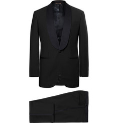 Thom Sweeney Midnight-Blue Slim-Fit Satin-Trimmed Wool Three-Piece Tuxedo