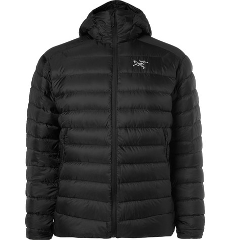 Arc'Teryx Cerium Lt Quilted Shell Hooded Down Jacket In Black