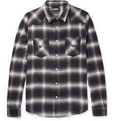 AMIRI Slim-Fit Checked Cotton-Blend Flannel Shirt