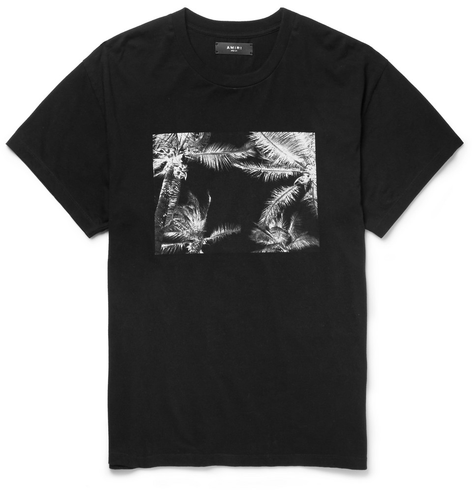 Printed Brushed-cotton Jersey T-shirt - Black