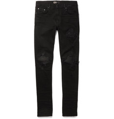 AMIRI MX1 Skinny-Fit Leather-Trimmed Distressed Stretch-Denim Jeans