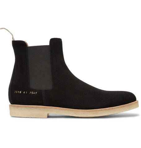 Common Projects Suede Chelsea Boots In Washed Black Modesens