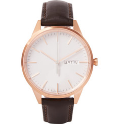 Uniform Wares - C40 Rose Gold PVD-Plated Stainless Steel and Leather Watch