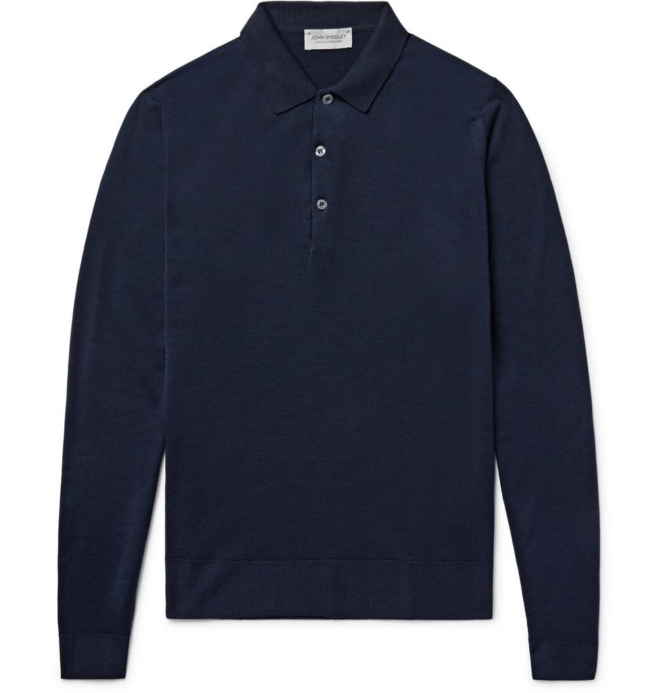 Belper Merino Wool Polo Shirt - Midnight blue