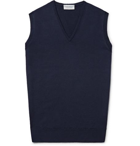 Hadfield Merino Wool Sweater Vest - Midnight blue