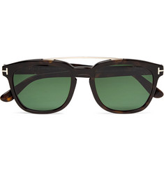 TOM FORD Holt Square-Frame Acetate and Rose Gold-Tone Polarised Sunglasses