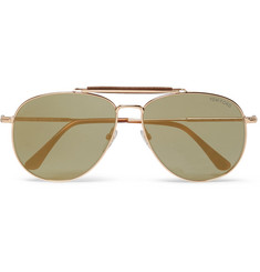 TOM FORD - Erin Aviator-Style Leather-Trimmed Gold-Tone Mirrored Sunglasses
