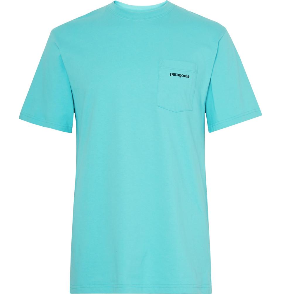 P-6 Printed Organic Cotton-jersey T-shirt - Turquoise