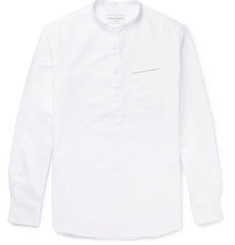 Officine Generale Auguste Grandad-Collar Cotton Oxford Shirt