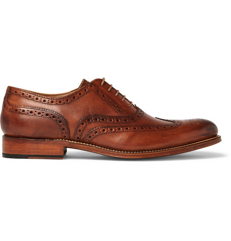 Dylan Burnished-Leather Wingtip Brogues, Tan