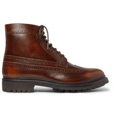 Grenson Sebastian Pebble-Grain Leather Longwing Brogue Boots