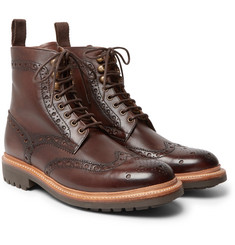 Grenson - Fred Burnished-Leather Brogue Boots