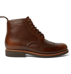 Grenson Sharp Burnished Pebble-Grain Leather Brogue Boots