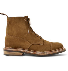 Grenson Cap-Toe Triple-Welted Suede Boots