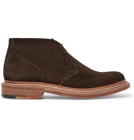 5b72d5c3683bf3 Grenson Oscar Triple-Welt Suede Chukka Boots In Dark Brown ...