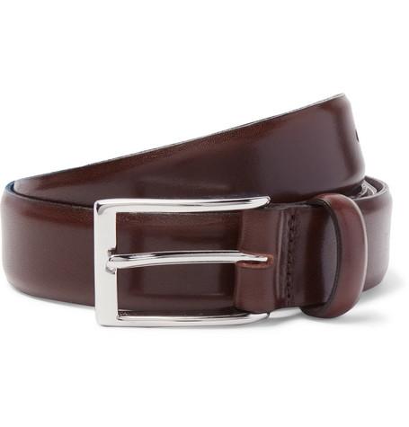 J.Crew 3Cm Brown Glossed-Leather Belt