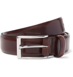 J.Crew 3cm Brown Glossed-Leather Belt