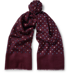 J.Crew Printed Wool and Silk-Blend Scarf
