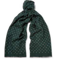 J.Crew Polka-Dot Wool and Silk-Blend Scarf