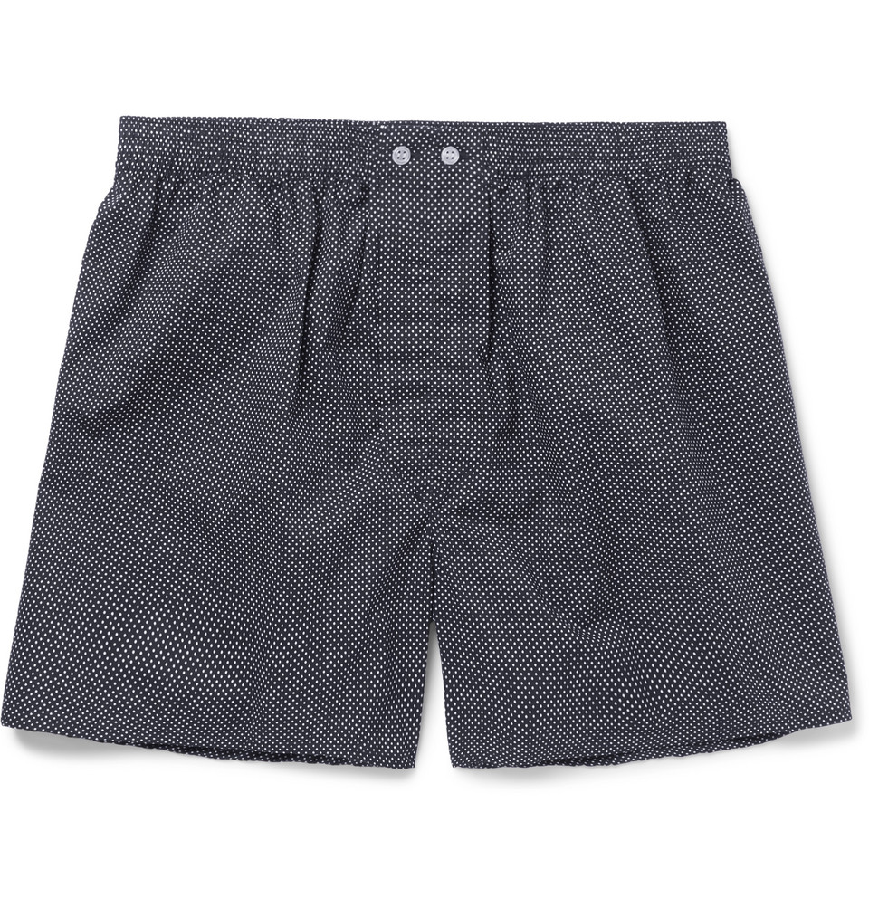 Plaza Polka-dot Cotton Boxer Shorts - Navy
