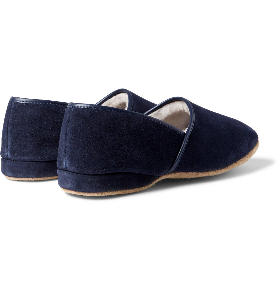 Derek Rose Crawford Shearling-Lined Suede Slippers