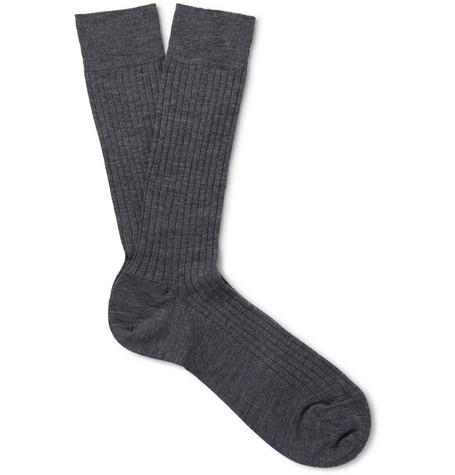 Ribbed Merino Wool-blend Socks - Charcoal