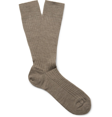Ribbed Merino Wool-blend Socks - Mushroom