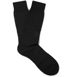 Pantherella Pin-Dot Cotton-Blend Socks