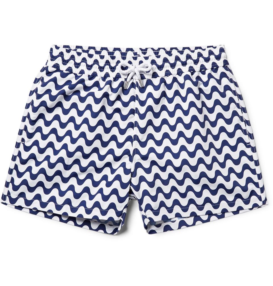 Copacabana Slim-fit Short-length Printed Swim Shorts - Navy