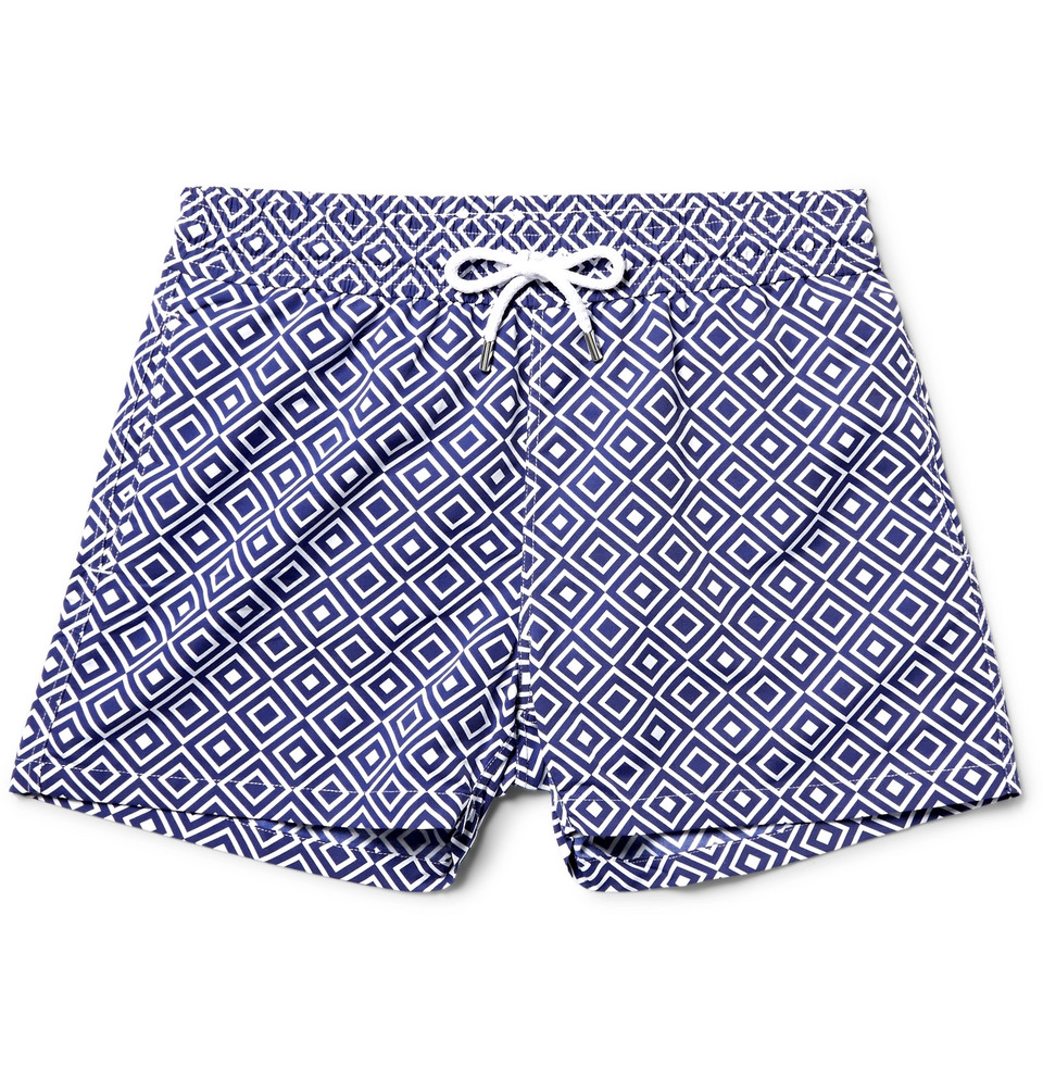 Angra Slim-fit Short-length Printed Swim Shorts - Blue