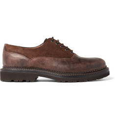 Brunello Cucinelli Suede-Trimmed Distressed Leather Oxford Shoes