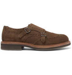 Brunello Cucinelli Suede Monk-Strap Shoes