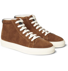 Brunello Cucinelli - Leather-Trimmed Suede High-Top Sneakers