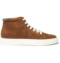 Brunello Cucinelli Leather-Trimmed Suede High-Top Sneakers