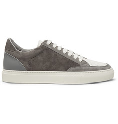 Brunello Cucinelli Suede and Grained-Leather Sneakers