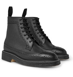 Tricker's - Pebble-Grain Leather Longwing Brogue Boots