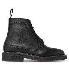 Tricker's Pebble-Grain Leather Longwing Brogue Boots