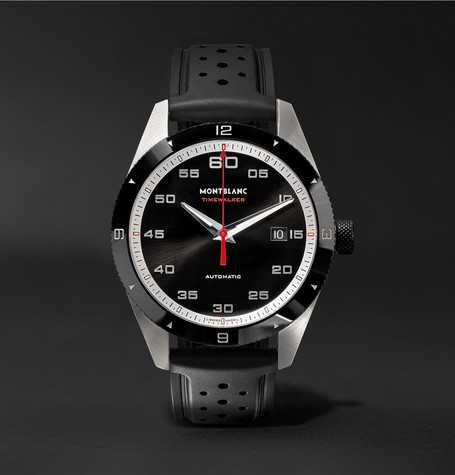 Timewalker Date Automatic 41mm Stainless Steel, Ceramic And Leather Watch - Black
