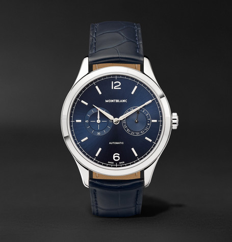 Heritage Chronométrie Twincounter Date Automatic 40mm Stainless Steel And Alligator Watch - Navy
