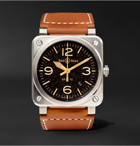 Br 03-92 Golden Heritage 42mm Steel And Leather Watch - Tan