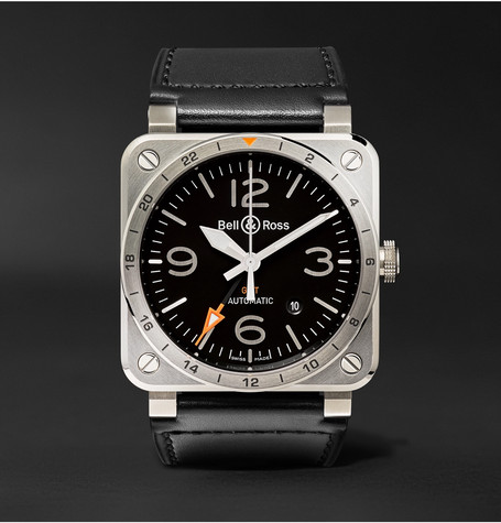 Br 03-93 Gmt 42mm Steel And Leather Watch - Black